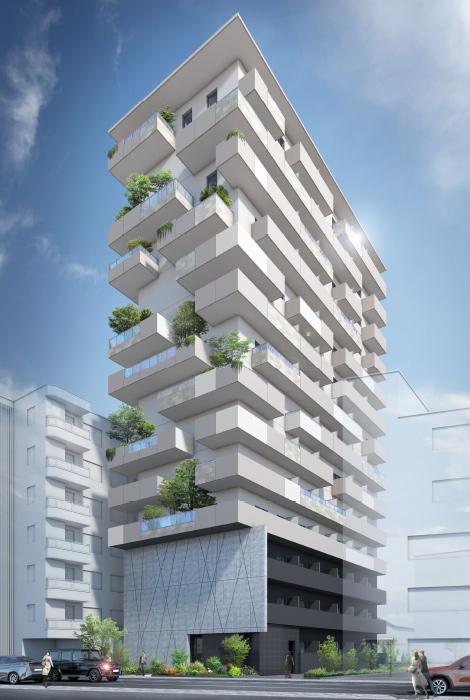 建物を一本の木と見立てた外観デザイン。木や植物が地域環境との調和を生み出す。