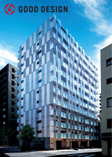 プライバシーを守りながら光や風を通す「有孔折板」が斬新な外観デザイン。