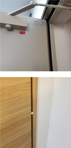 扉や引き戸による手挟み事故を防ぐ、指詰め防止や戸当たりを設置。
