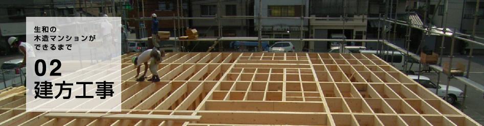 木造マンション・アパートの建方工事