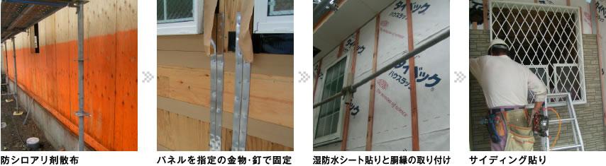 防シロアリ剤散布、パネルを指定の金物・釘で固定、湿防水シート貼りと胴縁の取り付け、サイディング貼り