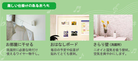 楽しい仕掛けのあるおうちお部屋に干せる 洗面所に必要なだけ使えるワイヤー物干し。おはなしボード 毎日の予定や伝言が貼れてとても便利。さらり壁(洗面所) ニオイと湿気を吸う壁材。空気を爽やかにします。