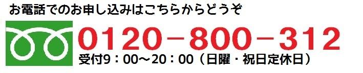 フリーダイヤル 0120-800-312