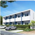 「メディオ・エム」シンプルで洗練されたデザイン 限られた敷地を生かす対応力 効率の良い土地活用で高収益を実現